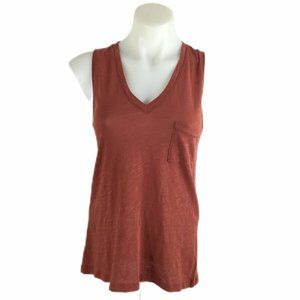 Madewell Tank Top Burnt Clay Whisper Cotton V-Neck